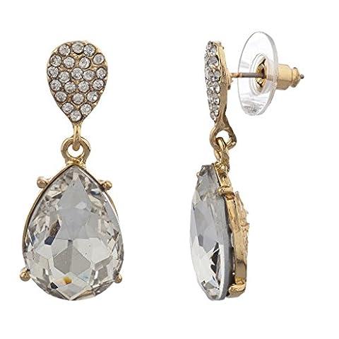 LUX Zubehör Gold Ton und Ebnen Kristall und Tropfenform Stein baumeln Ohrringe