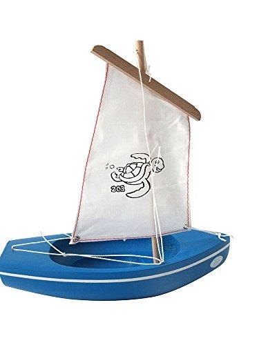 Tirot - 203 - Coque Bleu - Voile Rouge - Bateau jouet en bois navigable
