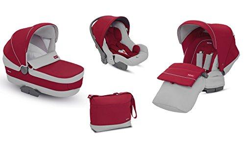 Cochecito de bebé con sistema de viaje rojo Dolomite de Inglesina