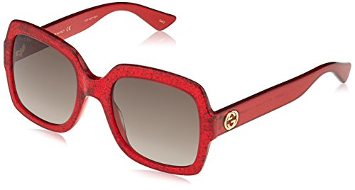 Gucci Damen GG0036S 005 Sonnenbrille, Rot (Red/Brown), 54
