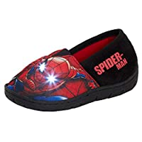 Marvel Boys Spiderman Light Up Flashing Slippers Kids Slip On Mules Childrens House Shoes
