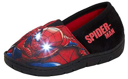 Marvel - Pantuflas de Spiderman para niños, tamaño Grande, Color Rojo, Talla 30 EU