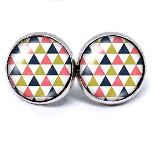 JUANLOWE Kaleidoskop Muster Ohrringe, Retro Mehrfarbig, Dreiecke Motiv, silberfarbene Ohrstecker aus Edelstahl mit Cabochon, Stecker, weiß navy rot grün