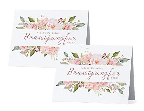 Doppelpack Willst Du meine Brautjungfer sein? Karte Rosen Geschenk für Bridesmaid Frage