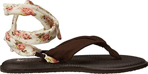 Sanuk Yoga-Sandali con strisce elevate con stampa fiori per donna, colore: nero Marrone/Fiori naturali