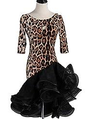 1e7cc65b04 CX Falda De Tutú Rumba Chacha con Estampado De Leopardo De Baile Latino para  Mujer