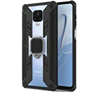 Case For Xiaomi Redmi Note 9S Clear and Black Armor Holder Ring
