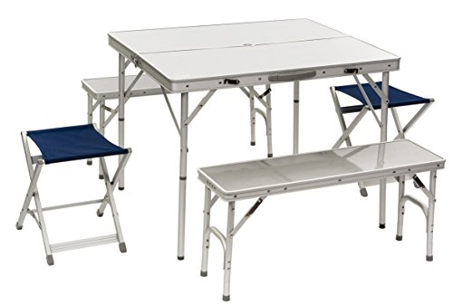 e + 2Barhocker + 1faltbarer Tisch blau (Barhocker Sport)