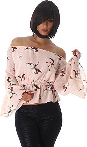 Voyelles femmes blouses chemise tunique chemise blouse manches longues Pulli blouse tunique Carmen-cou Fleur Rose