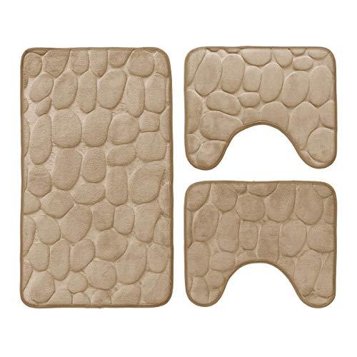 Set 3 pz tappetini da bagno antiscivolo sassolini tappeti memory foam r291 tortora