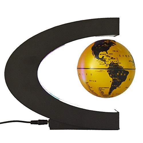 YLOVOW Anti-Schwerkraft-magnetische verschobene LED-Nachtlichtfarbänderung magnetische drehende U-förmige Kugel Innenministeriumdekoration, Feriengeschenke,Golddoesnotshine,4inch