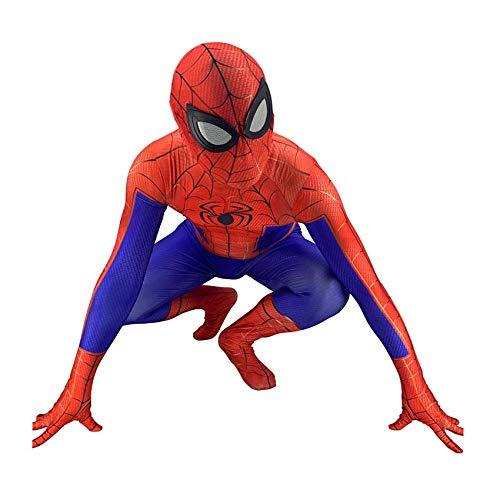 BLOIBFS Spider-Man Costume Boy,Halloween Spandex Superhero Fancy Dress Men Xmas Birthday Removable Mask Bodysuit,Child-XL