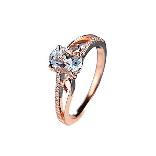 UFODB Diamond Rings For Women,Damen Ring Rosegold Hochzeitsringe Paar Jewelry Mit Zirkonia Silber Geschenk Für Mutter Freundin Tochter Mädchen Herren