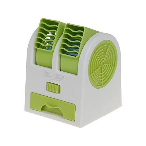 WEISHAZI Mini ventilador portátil sin aspas, doble salida de aire ajustable, ventilador de refrigeración USB para escritorio verde
