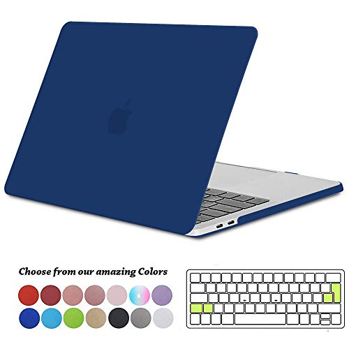 TECOOL MacBook Pro 15 Hülle 2019/2018/2017/2016 Case, Plastik Hartschale Schutzhülle mit Transparent EU Tastaturschutz für Apple MacBook Pro 15 Zoll mit Touch Bar Modell: A1990/ A1707 -Navy Blau - Case Klar Retina Pro Das 15 Macbook