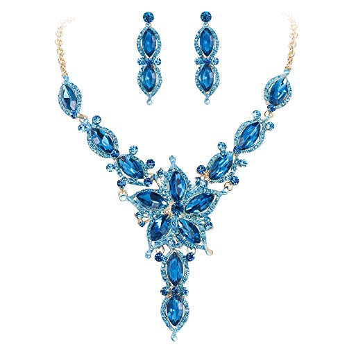 Ever Faith Damen Marquise Kristall Blume Braut V Form Halskette Ohrringe Set Blau Gold-Ton