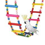 KOBWA Papageien Schwingen Spielzeug Natürlicher Bunter Papageien Schwingstand der Brücken Leiter Spielzeug für Papageien Hängt