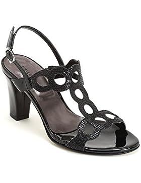 ESTRADÀ by Scarpe&Scarpe - Sandalen mit Absatz im Glitzerlook, mit Riemchen, Leder, mit Absätzen 9 cm