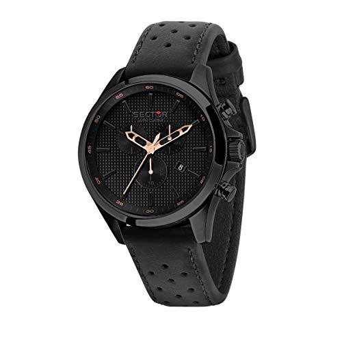 Sector 9 Herren Analog Quarz Uhr mit Leder Armband R3271623001