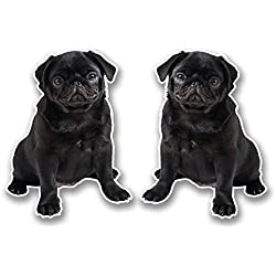 2 x 10cm Black Pug Vinyl Sticker Decal Laptop Tablet Car Dog Gift Animal #6298