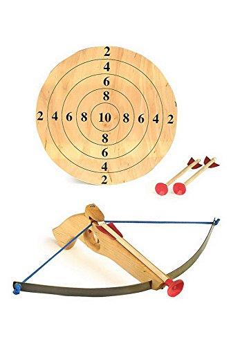 Preisvergleich Produktbild Hochwertige Sportarmbrust aus Holz inkl. Zielscheibe und zwei Pfeilen, Sportartikel / Schießspiel für Kinder und Erwachsene, ab 5 Jahre