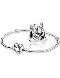Original Pandora regalo Set–1Plata Pulsera con Corazón cierre 590719y 1Plata Charm bebé elefante 791902