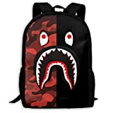 Sacs à Cordon,Sacs de Sport,Sacs à Dos Loisir, Bape Blood Shark Half Red Camo Backpack College School Travel Bags Waterproof Shoulder Backpacks for Men Women