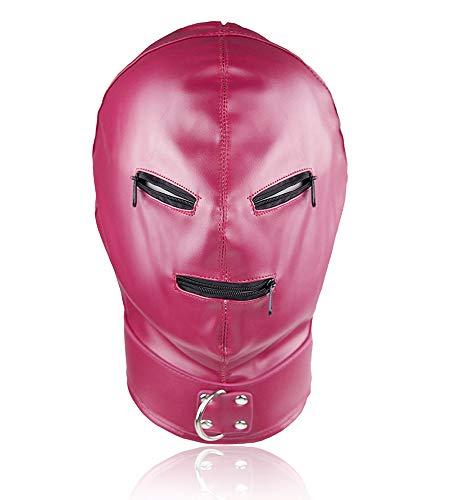 Diorerr Leder Bondage Maske, Volles Gesicht Gimp Maske Unisex Kopfbedeckung Geeignet Cosplay Schlafzimmer-Spiel