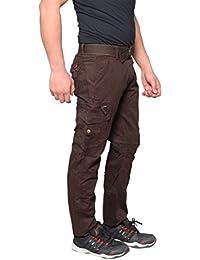 Krystle Men's Cotton Stylish Cargo Trouser Pant 6 Pocket Brown