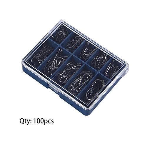 Matthew00Felix 1 Ajuste 100 PC 10 tamaños # 3-12# anzuelos de Pesca Negro de Plata con la Caja Carry
