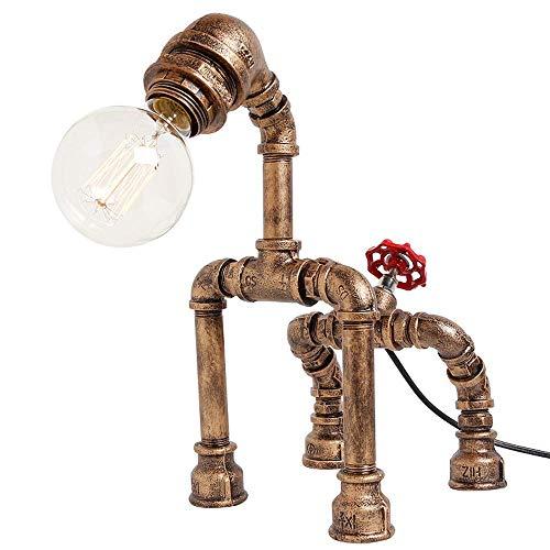 Retro Wassersprudler American Antique Metal Edison Tischlampe E27 Lihgt Table Bedroom Light WarmDesktop Nachttisch Night Light (Schalter Blackout) schwarz