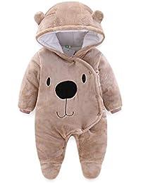 Bebé Mamelucos con Capucha Franela Ropa de Invierno Peleles con Pies Monos de Manga Larga por