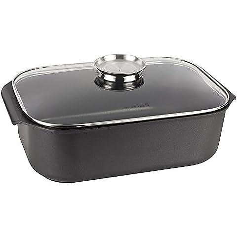 Fuente de aluminio fundido para el horno con tapa de cristal y botón de salida de aromas, 7,4 L, aprox. 35 x 25 x 11 cm