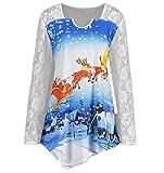 JURTEE Weihnachtskostüme Bluse Damen Weihnachten Spitze Schlitten Panel Weihnachtsmann Claus Drucken Häkeln T-Shirt Oberteile Weihnachtsbluse