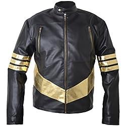 Diseño de rayas de Lobezno de Jackman x Men Golden sintética con una chaqueta de cuero
