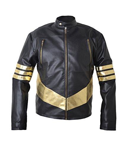 HLS Xmen Wolverine Jackman Golden Streifen Kunstleder Jacke Gr. XXXXX-Large, braun