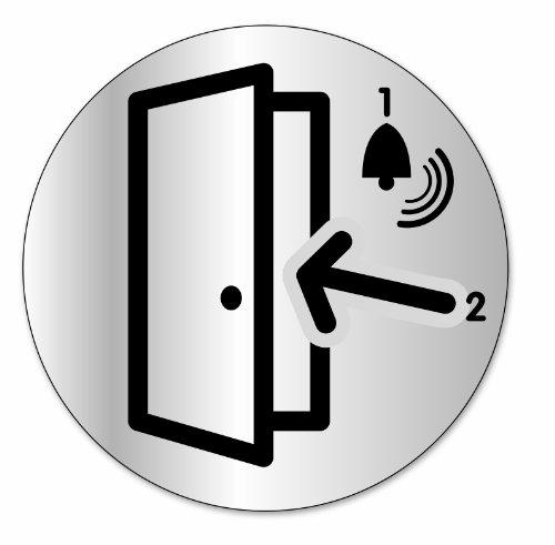 """Symbol DS35 Indicator disc """"Klingeln und eintreten"""" - Selbsthaftendes Aluminium - Durchmesser 80 mm"""