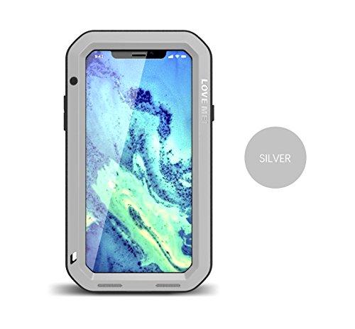 iPhone X (5.8 inch) Métal Coque, Love Mei Armor Tank Coque,Housse,Cover, en Antichoc Etui Housse Couverture antichoc / antipoussière / Métal Aluminium Housse Coque pour iPhone X (Noir) Argenté
