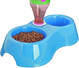 Sage Square 2 In 1 Anti Slip Food with Water Bowl for Dog / Cat / Puppy / Kitten and Other Pets (Blue)