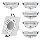 Set di 6 faretti LED da incasso, a intensità variabile, piatto, quadrato, 5 W, 230 V, in alluminio spazzolato, orientabili, luce bianca calda, 3000 K