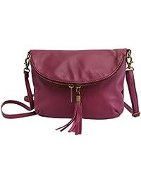 cb48c6cc8992b AMBRA Moda Italienische Ledertasche Schultertasche Crossover Umhängetasche  Nappaleder Damen Kleine Tasche NL609