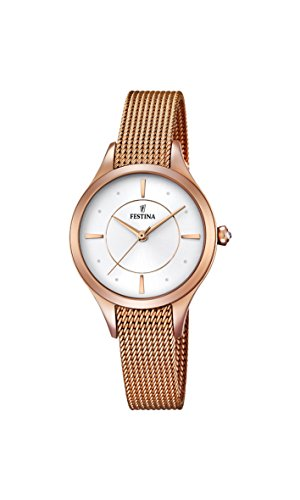 Festina MADEMOISELLE Women's Quartz Watch with Silver Dial Analogue Display and Rose Gold Stainless Steel Rose Gold Plated Bracelet F16960/1