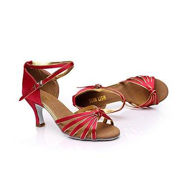 Scarpe da ballo - Personalizzabile - Da donna - Balli latino-americani / Salsa - Tacco su misura - Raso -Nero / Blu / Marrone / Rosso / nude