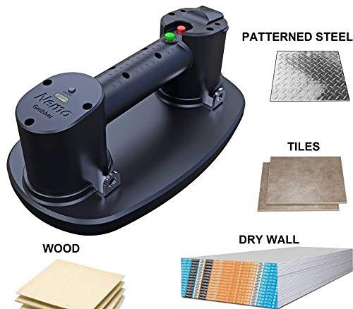 Grabo Elektrischer Vakuum-Saugnapfheber für Holz, Trockenwand, Granit, Glas (gemustert oder glatt), Fliesen. Glasheber, max. Traglast, 2 Batterien