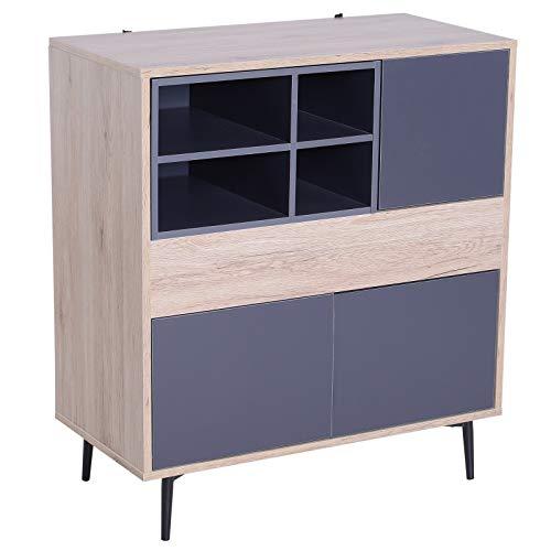 Holz-konsole Schrank (HOMCOM Mehrzweckschrank Aufbewahrungsschrank Schrank Sideboard Holzschrank Konsole Flur ausziehbar Ablagefach Holz + Metall Dukelgrau + Natur 78 x 39 x 87,2 cm)