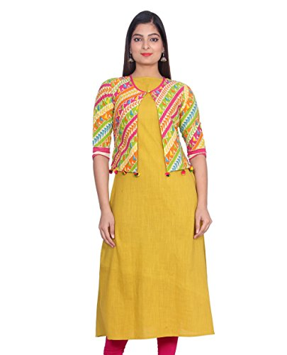 AANIA Beautiful Printed Exclusive cotton Women's Kurti with Jacket Length 48 Inches...