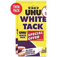 UHU White Tack Twin Pack - Sticky Reusable Adhesive Putty