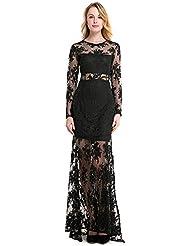 La Sra. verano vestidos bordados vestidos primavera verano grabado fluoroscopia banquete vestido con una falda larga de encaje ,negro,S/EU36-YU&XIN