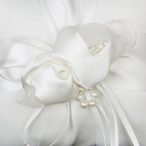 Phenovo Ringkissen Schöne Elfenbein Bud Blume Hochzeit 15cmx15cm