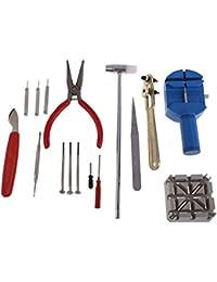 TRIXES Uhren-Reparatur-Set Werkzeugset mit Armband-Einstell-Werkzeug & Gehäuseöffner 16-teilig
